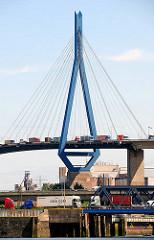 Polygon der Köhlbrandbrücke - Lastwagenverkehr auf der Brücke - Containerlaster.