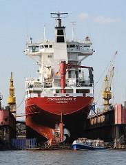 Heckansicht eines Containerfeeders im Schwimmdock am Reiherstieg - ein Schiff der Hafenrundfahrt fährt mit seinen Gästen dicht an die Dockanlage auf HH Steinwerder.