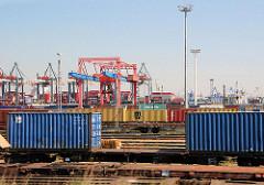 Güterbahnhof und Containerkräne auf dem Güterbahnhof des Terminal EUROGATE.