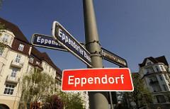 Eppendorfer Grenzschild Strassenschilder Eppendorfer Baum / Eppendorfer Landstrasse.