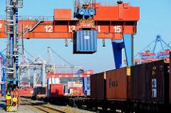 Containerverladung auf einen Güterzug im Hamburger Hafen - ein Container wird auf den Waggon abgesenkt.