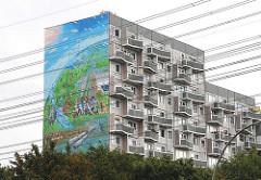 Wohnhäuser Hamburgs - Hochhaus am Osdorfer Born - höchstes Graffiti der Welt.