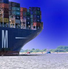 Containerschiff und Fischkutter - Bilder aus dem Hamburger Hafen und der Elbe bei Hamburg.