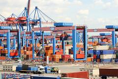 Portalkräne auf dem Gelände des Container Terminals Hamburg Altenwerder im Hamburger Hafen.