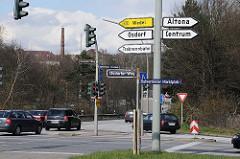 Verkehrsschilder und Autobahnauffahrt Hamburg