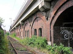 Eisenbahnviadukt und Eisenbahnschienen beim Zollzaun an der Versamannstrasse in der Hamburger Hafencity.