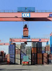Containerhafen Hamburg Altenwerder Portalkranpaar.