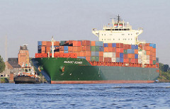 Containerschiff Margrit Rickmers auf der Elbe vor Seemannshöft / Lotsenhaus - Bilder aus dem Stadtteil Hamburg Waltershof.