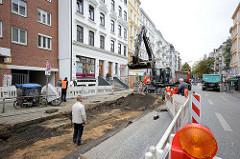 Gesperrter Mühlenkamp in Hamburg Winterhude - Bau der sogen. Busbeschleunigungsspur.