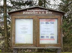 Informationskasten der Dorfgemeinschaft Billwärder a. d. Bille; Billdeich.