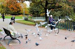 Vögel füttern in den Wallanlagen - Möwen und Tauben warten auf Brotkrumen - Bilder aus dem Hamburger Stadtteil St. Pauli.