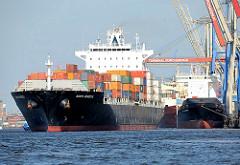 Der Containerfrachter SANTA REBECCA legt vom Container Terminal Burchardkai in Hamburg Waltershof ab. Der Frachter hat eine Länge von 281m und kann 4112 Container TEU transportieren.