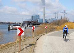 Ausflugsstrecke für Radfahrer - Deichstrasse am Moorfleeter Deich.