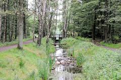 Raakmoorgraben im Hamburger Naturzschutzgebiet Raakmoor - beiderseits des Graben verlaufen Wanderwege - Steine liegen im Wasser.