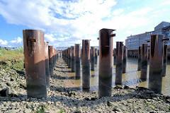 In den Hafengrund eingerammte Eisensäulen auf dem ein Lagergebäude im Magedburger Hafen stand (2007).