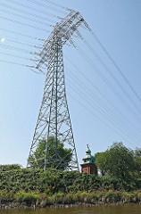 Strommast und Überlandleitung am Billbrooker Tiedekanal
