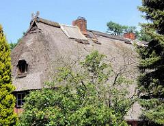 Altes Reetdach eines historische Wilstorfer Fachwerkgebäudes - das Reetdach ist mit Wellblech geflickt.