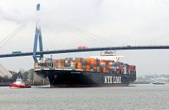 Das 336 m lange und fast 46 m breite Containerschiff NYK Olympus kann 8626 TEU Container an Bord nehmen - bei voller Beladung hat es einen Tiefgang von 14,06m.