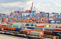Blick über die Gleisanlage der Eisenbahn-Containerverladestation auf dem Terminalgelände von Hamburg Altenwerder - hinter den Portalkränen des Containerlagers die Containerbrücken am Hafenkai.