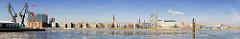 Panorama von der Elbseite der Hamburger Hafencity - Bilder aus den Stadtteilen Hamburgs - Blick über den Südwesthafen; lks. Kräne Afrikakai.