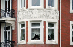 Jugendstilverzierung Hausfassade, Erkerdekor Pagenfelder Strasse.