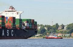 Heck des Containervessels HATTA beim Wenden vor dem Waltershofer Hafen. Im Hamburger Hafen liegen die Schiffe immer mit dem Bug Richtung Elbe, dass sie im Notfall auch aus eigener Kraft die Elbe erreichen können. Im Hintergrund Häuser Hamburg Oevelgö