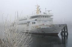 Alte Fähre im Harburger Überwinterungshafen - Nebel über dem Wasser.