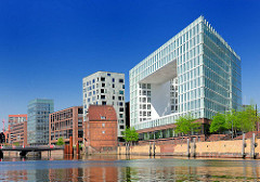 Blick in den Ericusgraben und zur modernen Neubebauung auf der Ericusspitze in dem Stadtteil Hafencity.