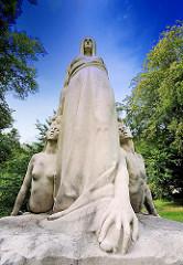 """Skulptur """"Schicksal""""; geschaffen 1905 - Bildhauer Hugo Lederer;Sie befand sich bis 1956 in einem Garten am Alsterufer."""