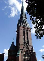 Kirchturm der Eimsbüttler Christuskirche - Fotos Hamburger Kirchen.