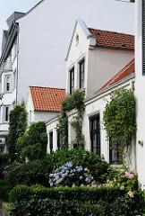 historische Häuser in Hamburg Winterhude - Bleicherhäuser in der Ulmenstrasse, Hortensien im Vorgarten.