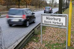 Stadtteilschild Moorburg, Bezirk Harburg - Strassenverkehr.