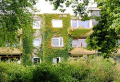 Innenhof eines Wohnblocks in Hamburg Steilshoop - mit Wein bewachsene Hausfassade und Balkons - Grünpflanzen im Vorgarten.
