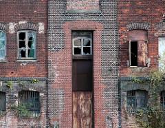 ALte Fassade der Harburger Mühlenbetriebe am Schellerdamm, zerbrochene Fensterscheiben - Birken wachsen aus dem Mauerwerk (2007 ).