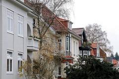 Jugendstilhäuser - Gründerzeithäuser Wohnhäuser in der Beckmannstrasse in Hamburg Gross Fottbek.