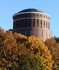 Kuppel des Hamburger Planetariums zwischen Herbstbäumen - Bäume im Hamburger Stadtpark.