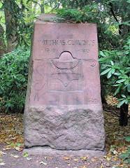 Gedenkstein im Wandsbeker Gehölz an Matthias Claudius.