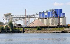 Siebanlage, Silos einer Bausstofffirma am Seehafen von Hamburg Harburg - im Vordergrund das Wasser der Süderelbe.