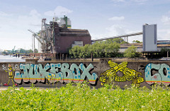 Mit Grafitti dekorierte Flutmauer am Reiherstieg in Hamburg Wilhelmsburg - Silogebäude am Kanal.