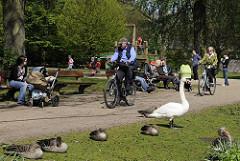 Wasservögel auf einer Wiese im Haynspark an der Alster - Fahrradfahrer auf dem Weg, Mütter mit Kinderwagen auf der Parkbank.