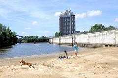 Haken in Hamburg Rothenburgsort - Teile des ehem. Hafenbeckens wurde mit Sand verfüllt; re. die Mauer einer Sturmflutanlage  - im Hintergrund das Hotel HolidayInn. Ein Hund spielt im Sand.
