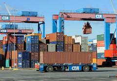 Container Transport Gelaende HHLA Terminal Altenwerder