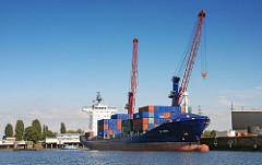 Hafenbilder aus Hamburg Steinwerder - Containerfeeder im Oderhafen - Containerverladung mit Hafenkran.