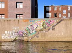 Graffiti an einer Kaimauer im Billehafen von Hamburg Rothenburgsort.