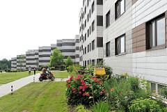 Architektur der 1960er Jahre in Hamburg Lohbrügge Nord  - mehrstöckige Wohnblocks entlang der Strasse - blühende Blumen im Vorgarten.
