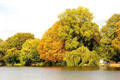 Herbstbäume am Wasser der kanalisierten Alster in Hamburg Winterhude - Fotos aus den Stadtteilen Hamburgs.