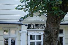 Historische Architektur - Schriftzug Mellinghus, Stamm einer Linde / An der Alsterschleife.