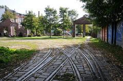 Strassenbahnschienen am ehem. Strassenbahndepot, Hoheluft West Gaertnerstrasse.