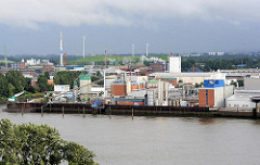 Industriegebäude am Ufer der Elbe von Hamburg Veddel. Im Hintergrund die Windkraftanlagen auf der stillgelegten Mülldeponie Georgswerder.