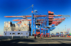Blick auf die Containerkräne am HHLA Container Terminal Burchardkai - das Frachtschiff CMA CGM CHRISTOPHE COLOMB liegt unter den herunter gefahrenen Containerbrücken.